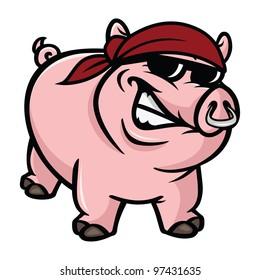 cartoon vector illustration of a hog wild