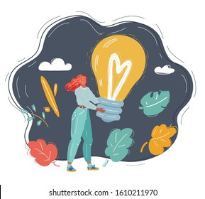 Cartoon vector illustration of human hand strongly holding idea light bulb of success concept glowing light bulb.