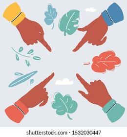 Cartoon vector illustration of human hands pointing by finger to center over white background.