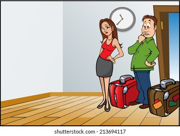 cartoon vector illustration of a husband wife travelers