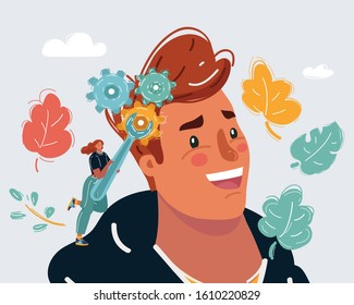 Cartoon vector illustration of Improvement brain concept. Mind control. Repair of damaged brain. Woman fix Gears in head by wrench.