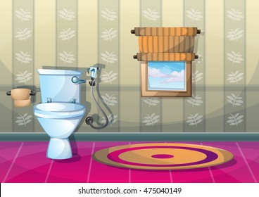 cartoon vector illustration interior bathroom with separated layers