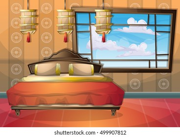 cartoon vector illustration interior chinese room with separated layers in 2d graphic