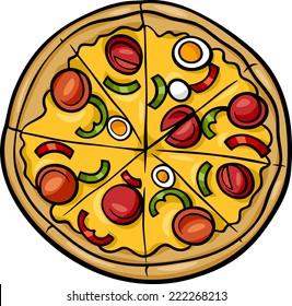 Cartoon Vector Illustration of Italian Pizza Food Object