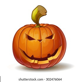 Cartoon vector illustration of a Jack-O-Lantern pumpkin curved in a smiling expression, isolated on white. Neatly organized and easy to edit EPS-10