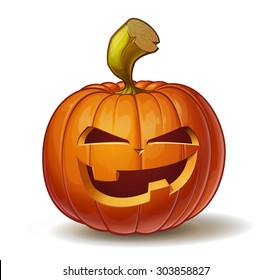 Cartoon vector illustration of a Jack-O-Lantern pumpkin curved in a mean expression, isolated on white. Neatly organized and easy to edit EPS-10