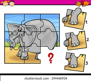 Cartoon Vector Illustration of Jigsaw Puzzle Education Game for Preschool Children with Elephant