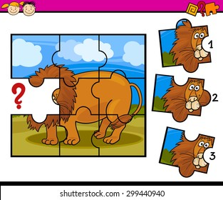Cartoon Vector Illustration of Jigsaw Puzzle Education Game for Preschool Children with Lion