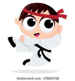 A cartoon vector illustration of a karate kid.