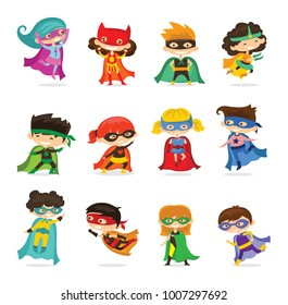 Cartoon vector illustration of Kid Superheroes wearing comics costumes isolated on the white background.