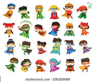 Cartoon vector illustration of Kid Superheroes wearing comics costumes