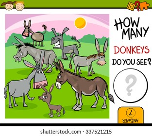 Cartoon Vector Illustration of Kindergarten Educational Counting Task for Preschool Children with Farm Donkeys