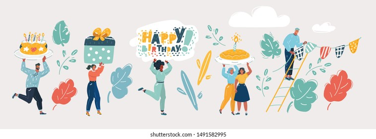 Cartoon vector illustration of Laughing and smiling people with gifts and cake. Happy birthday vector concept. People on birthday with gift and cake celebration. Human characters on white.