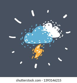 Cartoon vector illustration of lightning cloud. Weather icon on dark. Funny hand drawn picture. Object on isolated.