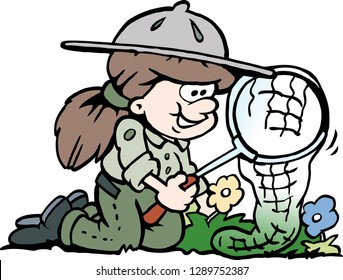 Cartoon Vector illustration of a little happy Scout Girl