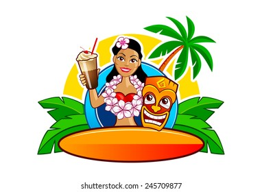 Cartoon vector illustration of lovely Hawaii Hula girl with cocktail glass, orange tiki mask and surf board. High quality logo template.