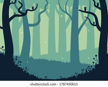 Cartoon vector illustration of magical forest. Mystery and fairytale with little fantastic creatures