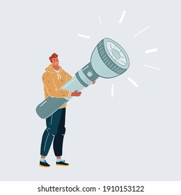 Cartoon vector illustration of man with big giant flashlight in his hands.