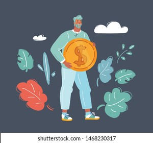 Cartoon vector illustration of man holding golden coin. Success and get money concept. Human male character on dark.
