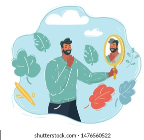 Cartoon vector illustration of man looking at himself in mirror to encourage and find confidence in himself.