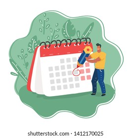 Cartoon vector illustration of man with pencil and calendar. Business Operations Planning and Scheduling Concept.