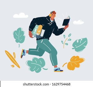 Cartoon vector illustration of man run with book in his hands. Education concept. Young man student with earphones. Reading and listening study. Self education. Late, assimilate information quickly.