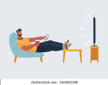 Cartoon vector illustration of man sitting on the couch and watching TV. Funny characters on isolated background. Procrastination, weekend concept on white background.