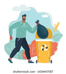 Cartoon vector illustration of man throws a garbage in the trash can.