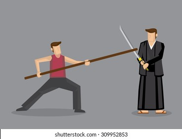 Cartoon vector illustration of man using Chinese staff weapon, long gun, sparring with man in Japanese Kendo uniform using Samurai sword, katana, isolated on grey background.