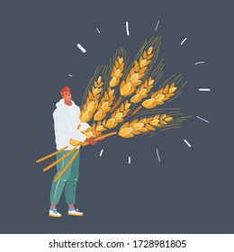 Cartoon vector illustration of man with wheat with big sheaf of wheat. Isolated character on dark background.