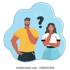 Cartoon vector illustration of man and woman question. Problems and solutions. Couple in quarrel. Female and male charcers.
