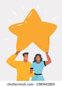Cartoon vector illustration with man and woman hold star. Story of succes, happy, victory, relationship.