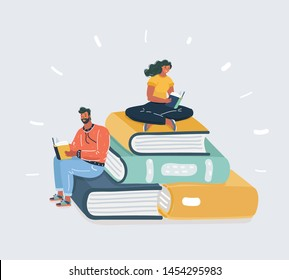 Cartoon vector illustration of man and woman reading books sitting on many big books. Human character and object on white background. Literature fans or lovers, student, education concept, fair
