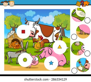 Cartoon Vector Illustration of Match the Pieces Educational Game for Preschool Children