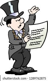 Cartoon Vector illustration of a Mayor reading a Notice