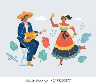 Cartoon vector illustration of Mexican holiday. Man and woman costumes sing, play the guitar and dance. Isolated on white background