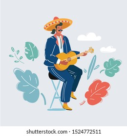 Cartoon vector illustration of A Mexican man playing guitar and serenading on white background.