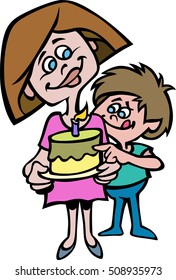 Cartoon vector illustration of a Mom and her son, with mouth-watering expression, while looking at his birthday cake  while mom smiles.