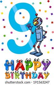 Cartoon Vector Illustration of the Ninth Birthday Anniversary Design for Boys