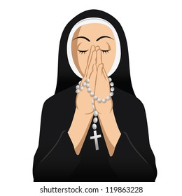 cartoon vector illustration of a nun Catholic praying