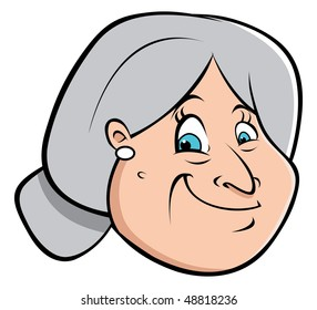 cartoon vector illustration old lady hair bun