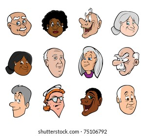 cartoon vector illustration of old people's faces
