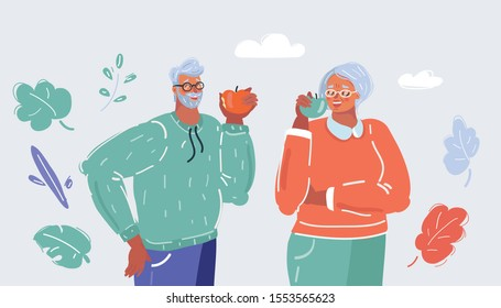 Cartoon vector illustration of old woman and man eating apples. Human character on white background. Healthy food and tooth, Healthcare concept.