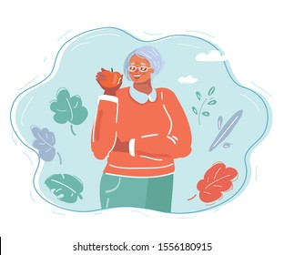 Cartoon vector illustration of old woman eat apple. Health food and teeth concept.