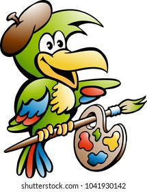 Cartoon Vector illustration of a Parrot Painter Artist