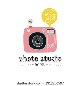 Cartoon vector illustration of the photo camera with hand lettering Photo studio for rent and speech bubble Oh snap. Flat style design element for sticker, print, poster, site, album, apparel. Vector