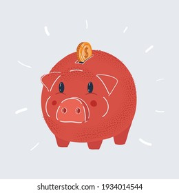 Cartoon vector illustration of Piggy bank. Money box with coin isolated on a white background.