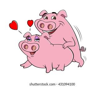 cartoon vector illustration of pigs humping