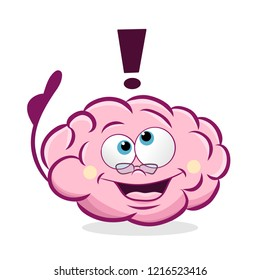 Cartoon vector illustration of pink brain with glasses and thumb up. Concept of brain having an idea.