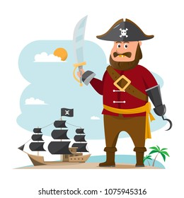 cartoon vector illustration. pirate adventure with old ship on beach sea background